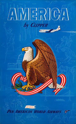 Original Vintage Poster - Offset Print - Pan American Airways - America by Clipper