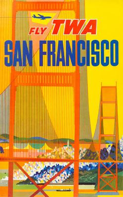 David Klein - TWA - San Francisco - Vintage Modernism Poster