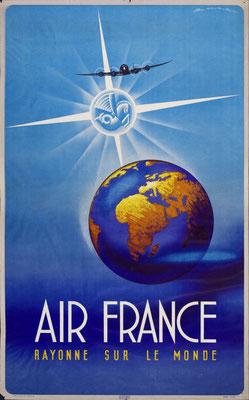 Edmond Maurus - Air France - Rayonne sur le monde - Vintage Art Deco Poster
