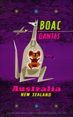 Original Vintage Poster - Silkscreen with Fluorescent Colors - BOAC Qantas Australia New Zealand - Laban
