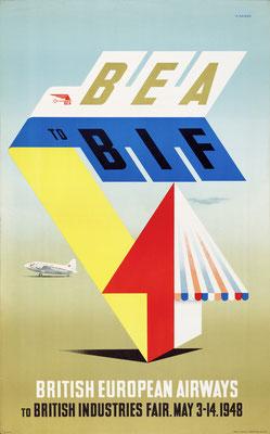 Abram Games - BEA to BIF - Vintage Modernism Poster