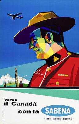 Gaston vanden Eynde - SABENA - Canada - Original Vintage Poster (Modernism)