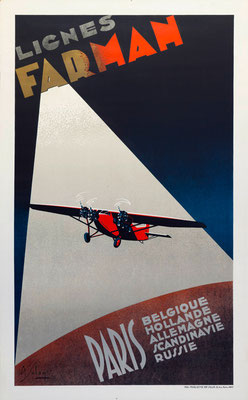Lignes Farman - Paris - Solon - rare vintage airline poster