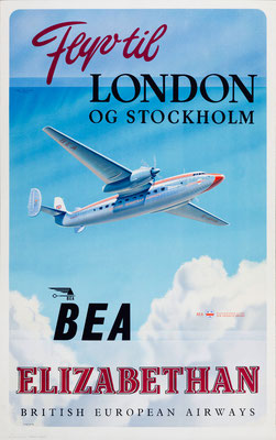 BEA - Flyv til London og Stockholm Elizabethan - Roy Nockolds - 1952