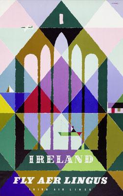 Abram Games - Ireland fly Aer Lingus - Vintage Modernism Poster