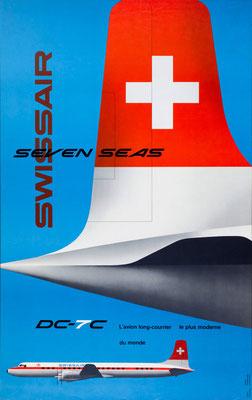 Kurt Wirth - Swissair - Seven Seas DC-7C - Vintage Modernism Poster