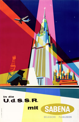 Gaston vanden Eynde - SABENA - UdSSR - Original Vintage Poster (Modernism)
