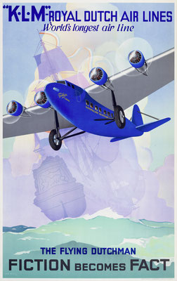 Lithograph in colors - KLM - The Flying Dutchman - Fiction becomes Fact - Jan Wijga