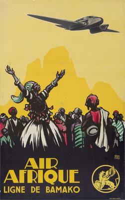 """Charles-Jean """"ALO"""" Hallo - Air Afrique - Ligne de Bamako - Vintage Art Deco Poster"""