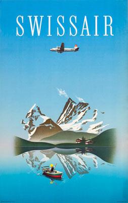 Swissair - Leupin - vintage airline poster