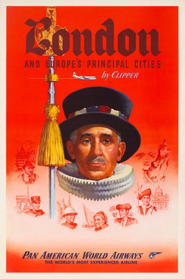 Pan American World Airways - London  and Europe's principal Cities by Clipper - 1950s