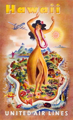 Dancing Girl - UAL - Hawaii - Feher - vintage airline poster