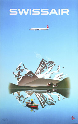Original Vintage Poster - Swissair - Herbert Leupin - DC-7C - Reissued 1956