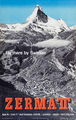 Original Vintage Poster - Swissair - Zermatt - Perren-Barberini