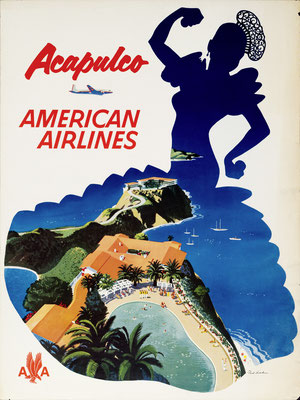 Fred Ludekens - American Airlines - Acapulco - Vintage Modernism Poster