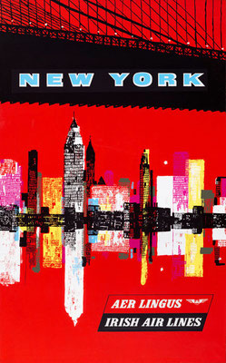 New York - Aer Lingus - original vintage airline poster
