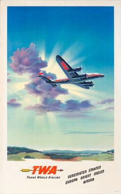 Lockheed Constellation - TWA - Soltesz - vintage airline poster