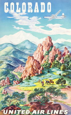 Joseph Feher - United Air Lines - Colrado - Original Vintage Poster (Old School Illustration)