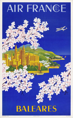 Lucien Boucher - Air France - Baleares - Original Vintage Poster (Old School Illustration)