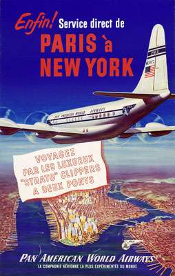 Pan American World Airways - Elfin! Service direct de Paris à New York - 1950s