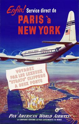 Pan American World Airways - Elfin! Service direct de Paris à New York - 1950s