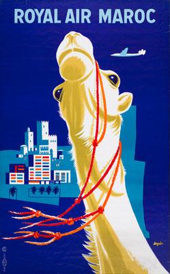 Modernism - Royal Air Maroc - Aeguin - vintage airline poster