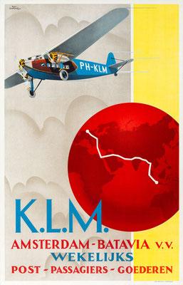 KLM - Amsterdam-Batavia v.v. Wekelijks - Emmanuel Louis Joseph Gaillard  - app. 1930