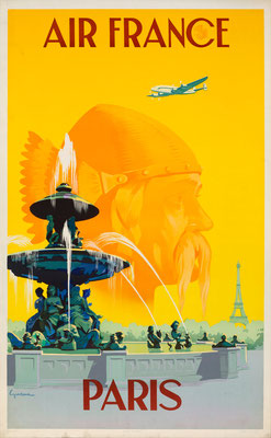 Vincent Guerra - Air France - Paris - Original Vintage Poster (Old School Illustration)