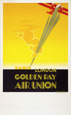 Edmond Maurus - Air Union - Paris London Golden Ray - Vintage Art Deco Poster