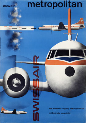 Swissair - convair metropolitan - Kurt Wirth - 1956 - 90 x 128 cm (Weltformat)