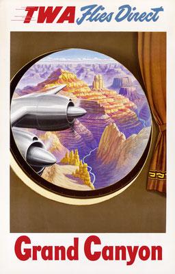 TWA flies direct - Grand Canyon - 1950s