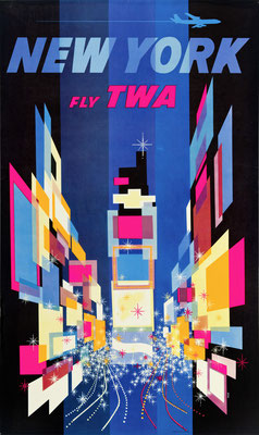 Original Vintage Poster - Reprinted 2nd edition (Jet) - TWA - New York - David Klein