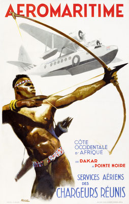 Albert Victor Eugène Brenet - Aeromaritime -Côte Occidentale d' Afrique de Dakar a Pointe Noire - Original Vintage Poster (Old School Illustration)