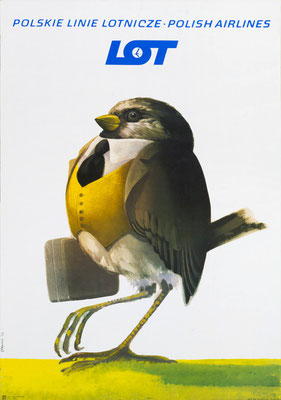 Strange bird - LOT - Polskie Linie Lotnicze · Polish Airlines - Stanny - vintage airline poster
