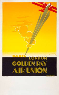 Air Union - Golden ray - Maurus - rare vintage airline poster