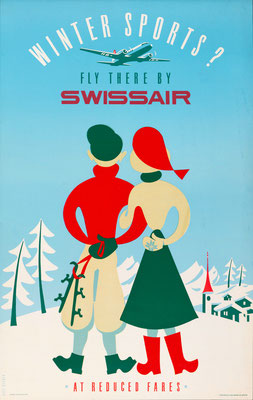 Swissair - Winter Sports? - Elli Sieber - 1950 - SOLD