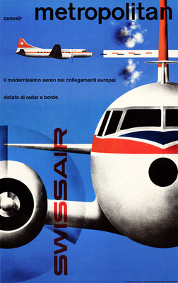 Kurt Wirth - Swissair - Convair Metropolitan - Vintage Modernism Poster