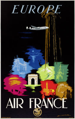 Edmond Maurus - Air France - Europe - Vintage Art Deco Poster