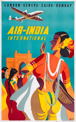 Air-India - Londo-Geneva-Cairo-Bombay - Asiart - 1950s