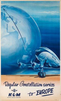Lockheed Constellation - KLM - van Heusden - vintage airline poster