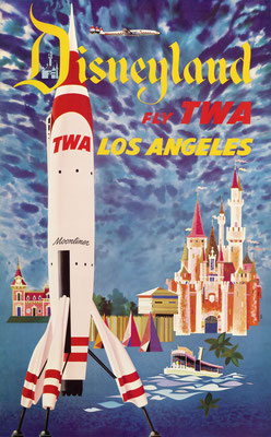 David Klein - TWA - Disneyland Los Angeles - Vintage Modernism Poster