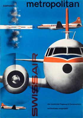 Kurt Wirth - Swissair - Metropolitan - Vintage Modernism Poster