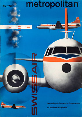 Kurt Wirth - Swissair - Convair Metropolitan (extra large version) - Vintage Modernism Poster