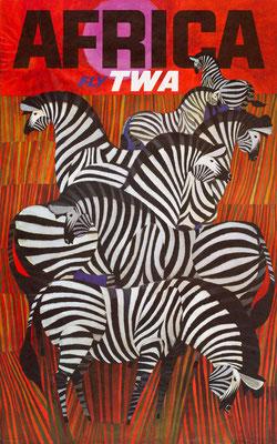 David Klein - TWA - Africa - Vintage Modernism Poster