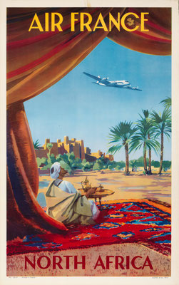 Vincent Guerra - Air France - North Africa - Original Vintage Poster (Old School Illustration)