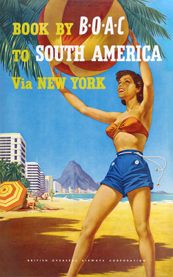 Hayes - BOAC Qantas - South America via New York - Original Vintage Poster (Old School Illustration)