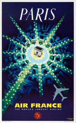 Original Vintage Poster - Air France - Paris - Baudouin - Reissued in 1962
