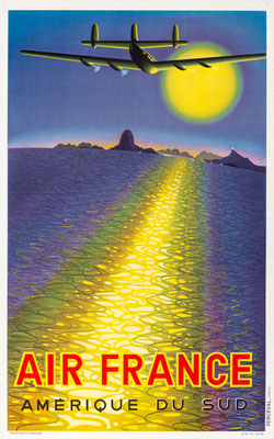 Victor Vasarely – Air France - Amerique du Sud - Vintage Modernism Poster (without signature, but it is undisputed, that it was designed by Vasarely)