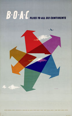 Abram Games - BOAC flies to all six continents - Vintage Modernism Poster
