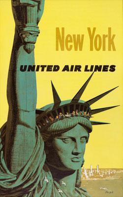 New York - Galli - UAL - original vintage airline poster